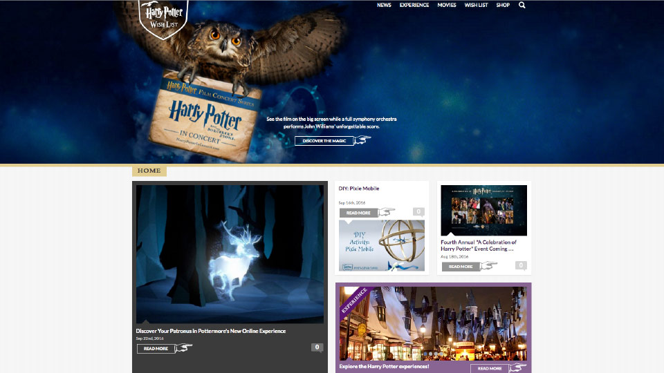 Project - Harry Potter - Current Site